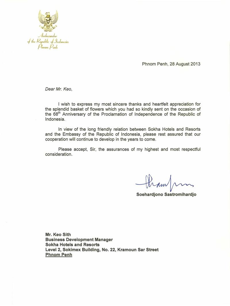 Ambassador Of The Republic Indonesia Letters